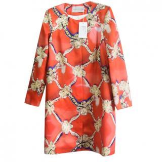 Mary Katrantzou Red Wool Silk Bow Print Coat