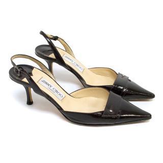 Jimmy Choo Oxblood Patent Leather Slingback Kitten Heels