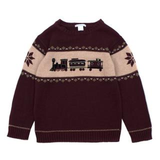 Jane & Jack Boy's Burgundy Knit Jumper