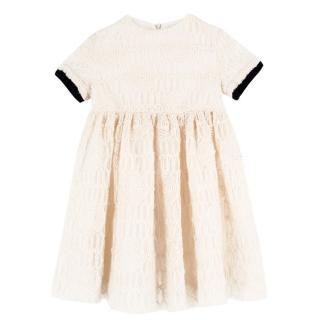 Mi Mi Sol Girl's Cream Mesh & Wool Dress