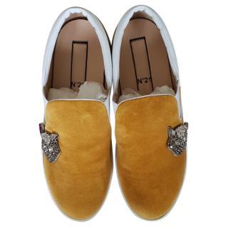 No. 21 Embellished Platform Slip On Sneakers