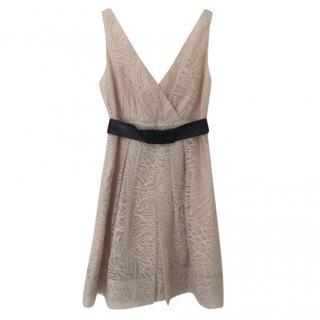 Diane Von Furstenberg nude sheer mini dress