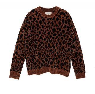 Nanushka leopard print teddy knit sweater