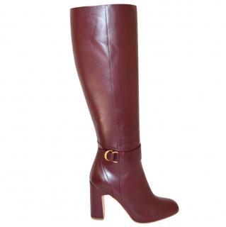 Rupert Sanderson Celeus Prune Leather Heel Knee Boots