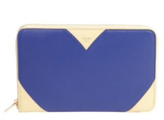 Celine Zip Around Indigo & White Wallet