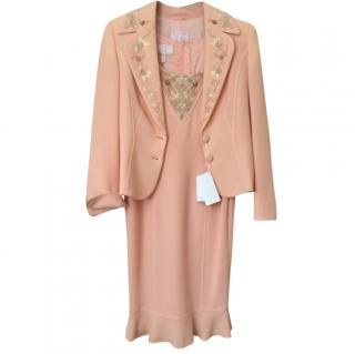 Escada Peach Embllished Dress and Jacket