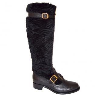 Rupert Sanderson Black Leather Knee Boots with Rabbit Fur