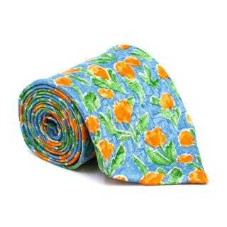 Ermenegildo Zegna Blue Floral Silk Tie