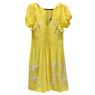 Gaetano Navarra Hand Embroidered Canary Yellow Beaded Dress