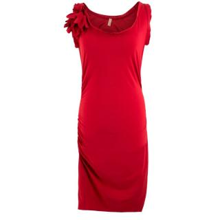 Lanvin Red Ruched Flower Applique Dress