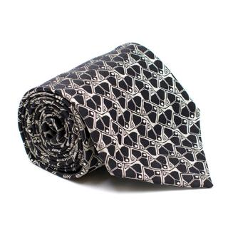 Gianfranco Ferre Black and Silver Abstract Pattern Silk Tie