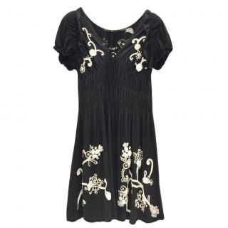 Gaetano Navarra Hand Embroidered Black & White Beaded Dress