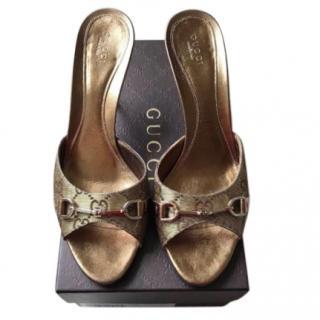 Gucci monogram horsebit sandals