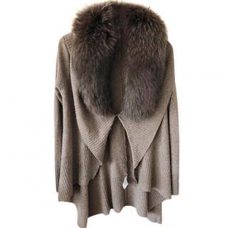 Alice + Olivia Brown Raccoon Fur Collar Tan Wool Waterfall Cardigan jacket top SZ4
