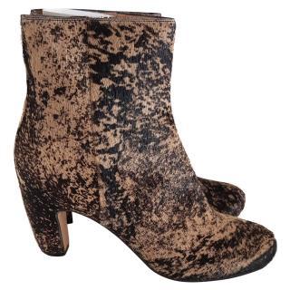Maison Margiela calf hair Brown-black ankle boots UK6 /7 UK 40