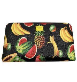 Dolce & Gabbana black Tropical print wallet