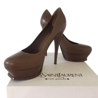 Yves Saint Laurent Tobacco Nappa Leather Tribute 105 Pumps
