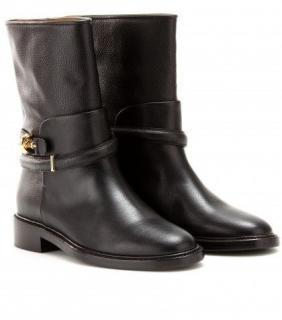 Balenciaga Black Leather Motorbike Mid Calf boots