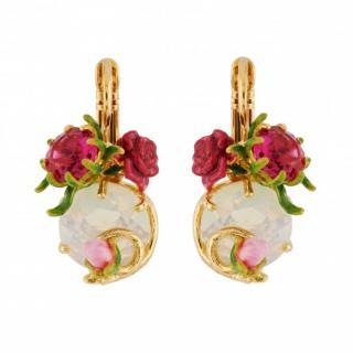Les Nereides French Glazed Rose Jewelled Hook Earrings