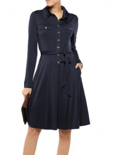 Tory Burch Blue Silk Shirt Dress