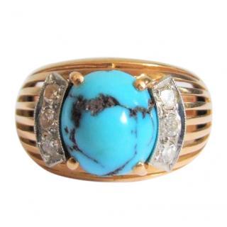 18ct gold, diamond & turquoise ring