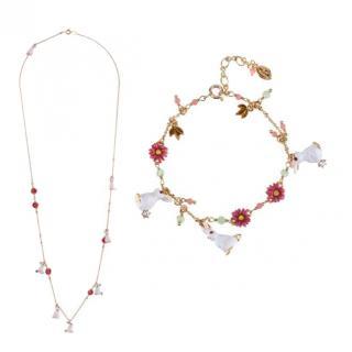 Les Nereides French Glazed Crystal Rabbit Necklace & Bracelet