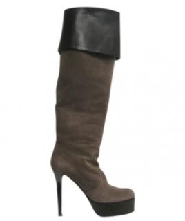 Giuseppe Zanotti Taupe Knee-High Platform Suede Boots