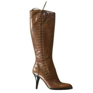 Sergio Rossi Brown Lace-Up Leather Boots