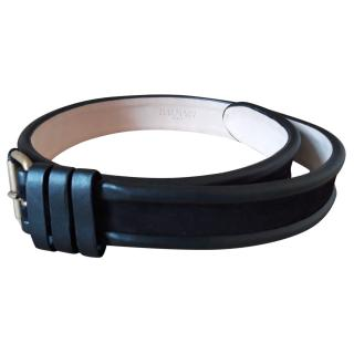 Balmain men�s black leather & suede belt