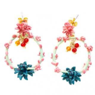 Les Nereides French Glazed Cactus Flower Earrings