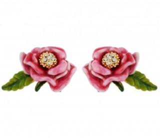 Les Nereides French Glazed Jewelled Rose Leaf Stud Earrings