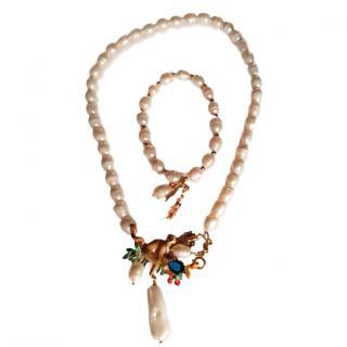 Les Nereides French Glazed Pearl Jewelled Monkey Necklace & Bracelet