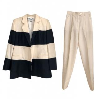 Escada Wool and Silk Blend Two Piece Contrast Suit