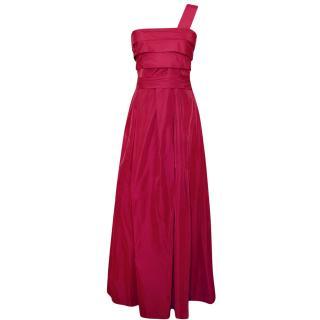 Max Mara Fuchsia One Shoulder Evening Gown