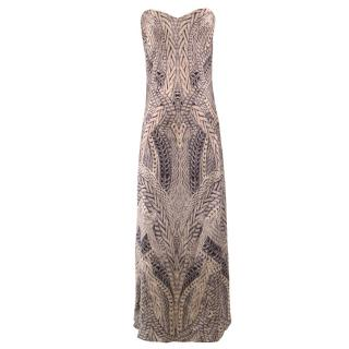 Alexander McQueen Silk Fitted Strapless Printed Gown