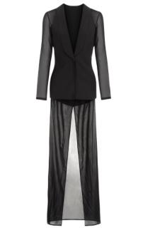 La Perla Black silk georgette robe