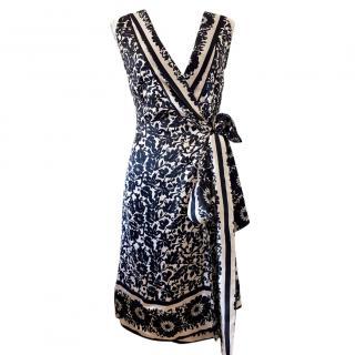 Diane Von Furstenberg Printed Silk Sleeveless Wrap Dress