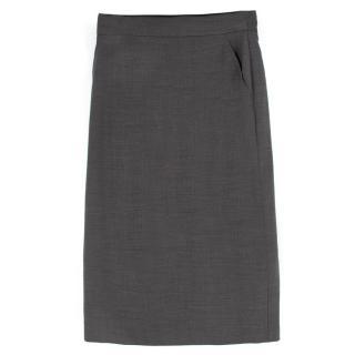 Max Mara Grey Wool-blend Pencil Midi Skirt