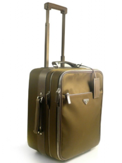Prada Tessuto saffiano leather-trimmed trolley luggage