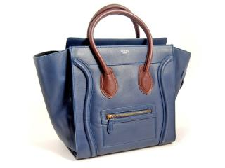 Celine blue calfskin mini luggage tote bag