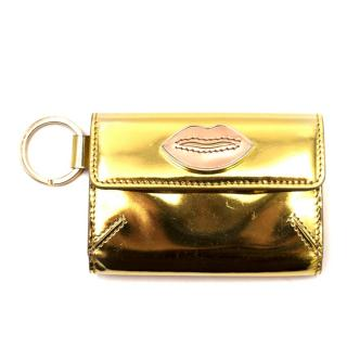 Charlotte Olympia Small Mirrored Leather Gold-tone Purse