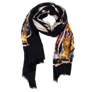 Chanel Paris Dallas Collection Silk Stripe Scarf