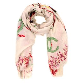Chanel Silk Cream Chanel No5 Scarf