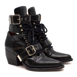 Chloe Current Season Black Rylee 60 Leather Buckle Ankle Boots