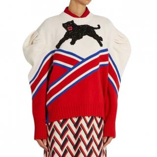 Gucci Panther Applique Wool Jumper