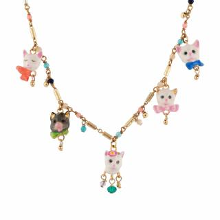 Les Nereides Hand Crafted 5 Little Cats Necklace