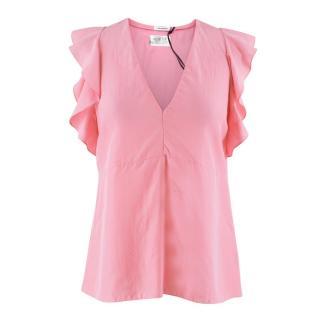Vilshenko Pink Silk Christy V-neck Sleeveless Top