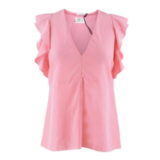 Vilshenko Pink Silk Christy V-neck Sleeveless Top