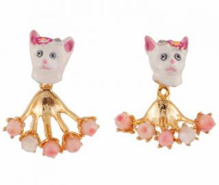 Les Nereides French Glazed Cat face earrings