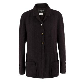 Chanel Boutique Brown Knit Wool Coat